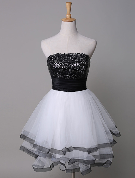 Milanoo  Sequin Prom Dress Strapless Tow-Tone Tiered Tulle Short Homecoming Dress