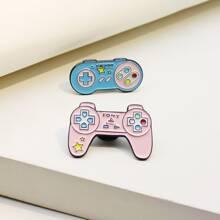 2 Stuecke Brosche mit Spielkonsole Design