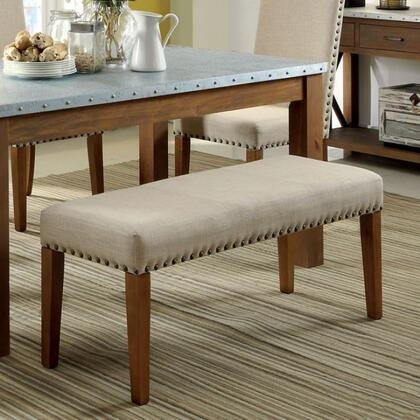 Walsh CM3533BN Bench with Industrial Style  Clean and Crisp silhouette  Padded Fabric Seat  Nailhead Trim in Natural