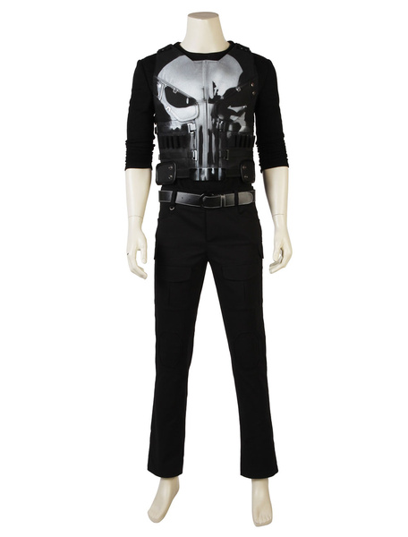 Milanoo Marvel Comics Punisher Frank Castle Carnival Cosplay Costume Marvel Comic Super Hero Costume