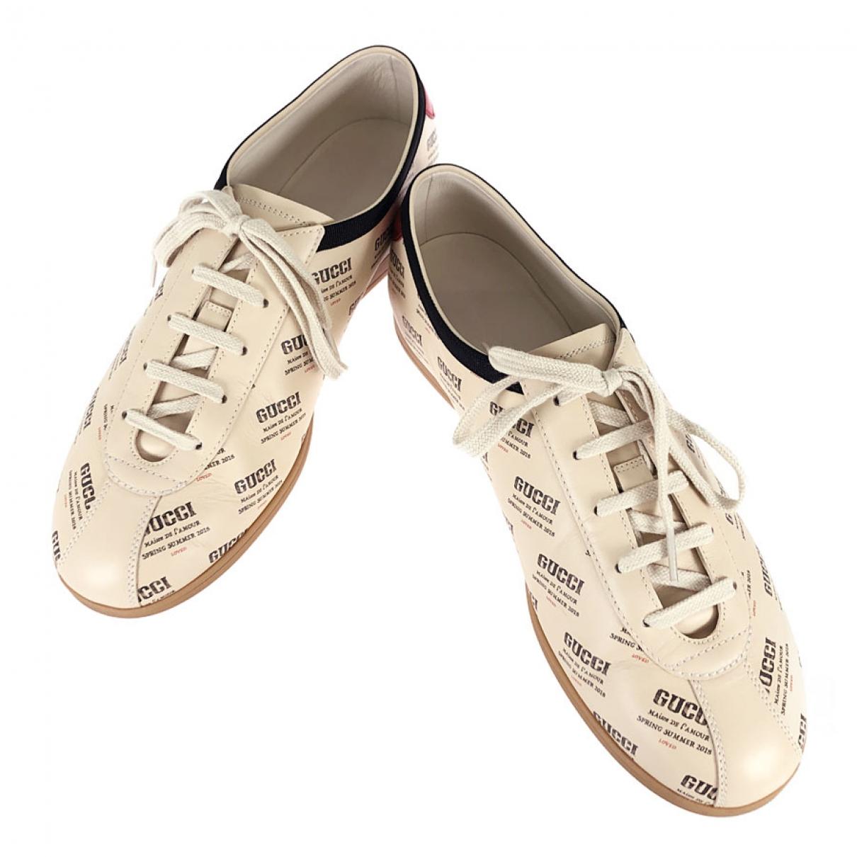 Gucci - Baskets Falacer pour homme en cuir - beige