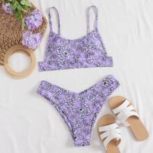 Ditsy Floral High Leg Bikini Swimsuit