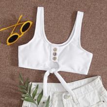Geripptes Bikini Top mit Knopfen vorn und Knoten