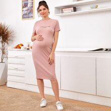 Maternidad vestido tejido de canale con estampado de slogan