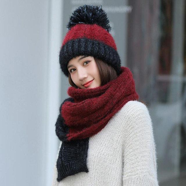 Knitted Beanie Pom Pom Scarfs Set Two-piece Set Thickening Warm Bobble Hat