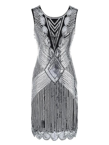 Milanoo Flapper Dress Great Gatsby 1920s Vintage Costume Women Sequin Dresses Halloween