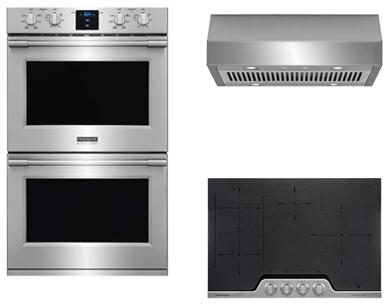 Frigidaire Professional Series 3-Piece Kitchen Package With FHWC3050RS 30 Electric Cooktop  FPET3077RF 30 Electric Double Wall Oven and FPEC3077RF