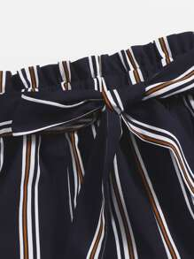 Paper Bag Waist Belted Striped Shorts