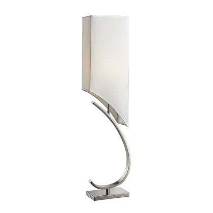 D2005 Table Lamp  In Chrome Finish With White Faux Silk Lamp