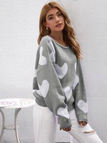 Open Back Heart Pattern Sweater