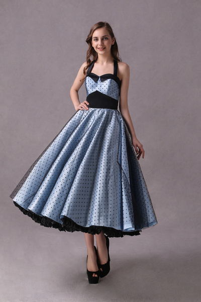 Milanoo Rockabilly Bridesmaid Dresses Short Baby Blue Polka Dot Print Halter Tea Length Vintage Wedding Party Dresses