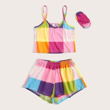Girls Plaid Colorblock Cami PJ Set