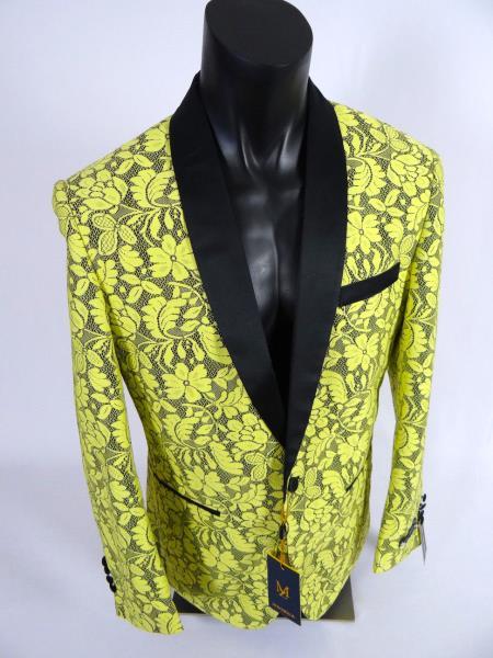 Mens Single Breasted Shawl Lapel Jacket Blazer Yellow Black