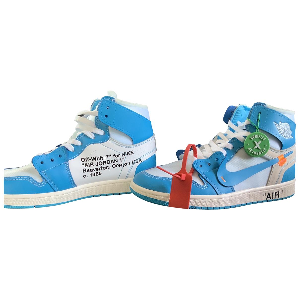 Nike X Off-white - Baskets Air Jordan 1 pour homme en cuir - bleu