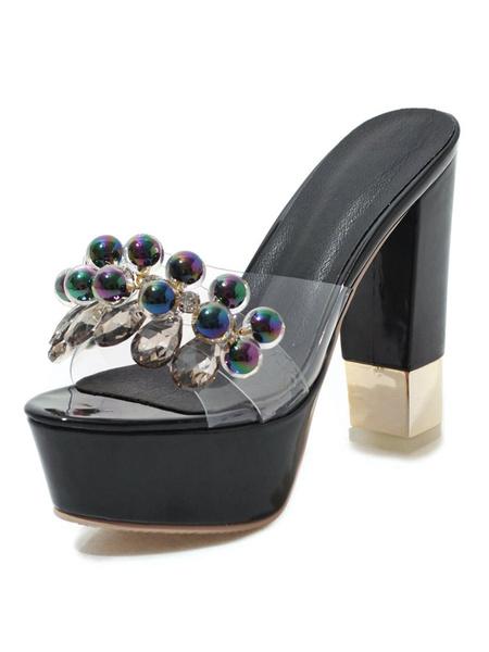 Milanoo High Heel Sandals White Platform Open Toe Beaded Backless Sandal Slippers