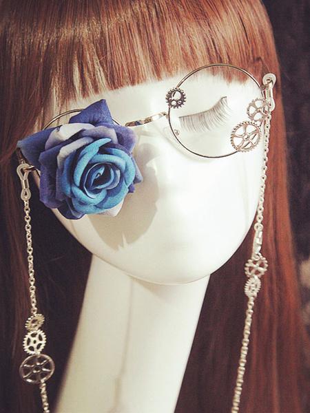 Milanoo Gothic Lolita Glasses Steampunk Vintage Red Rose Flower Gear Chains Retro Lolita Costume Accessories