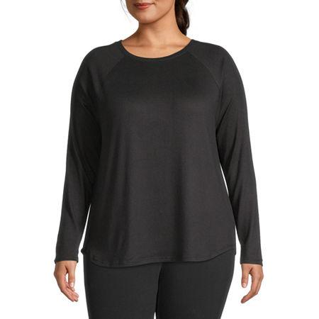 St. John's Bay Plus-Womens Round Neck Long Sleeve T-Shirt, 0x , Black