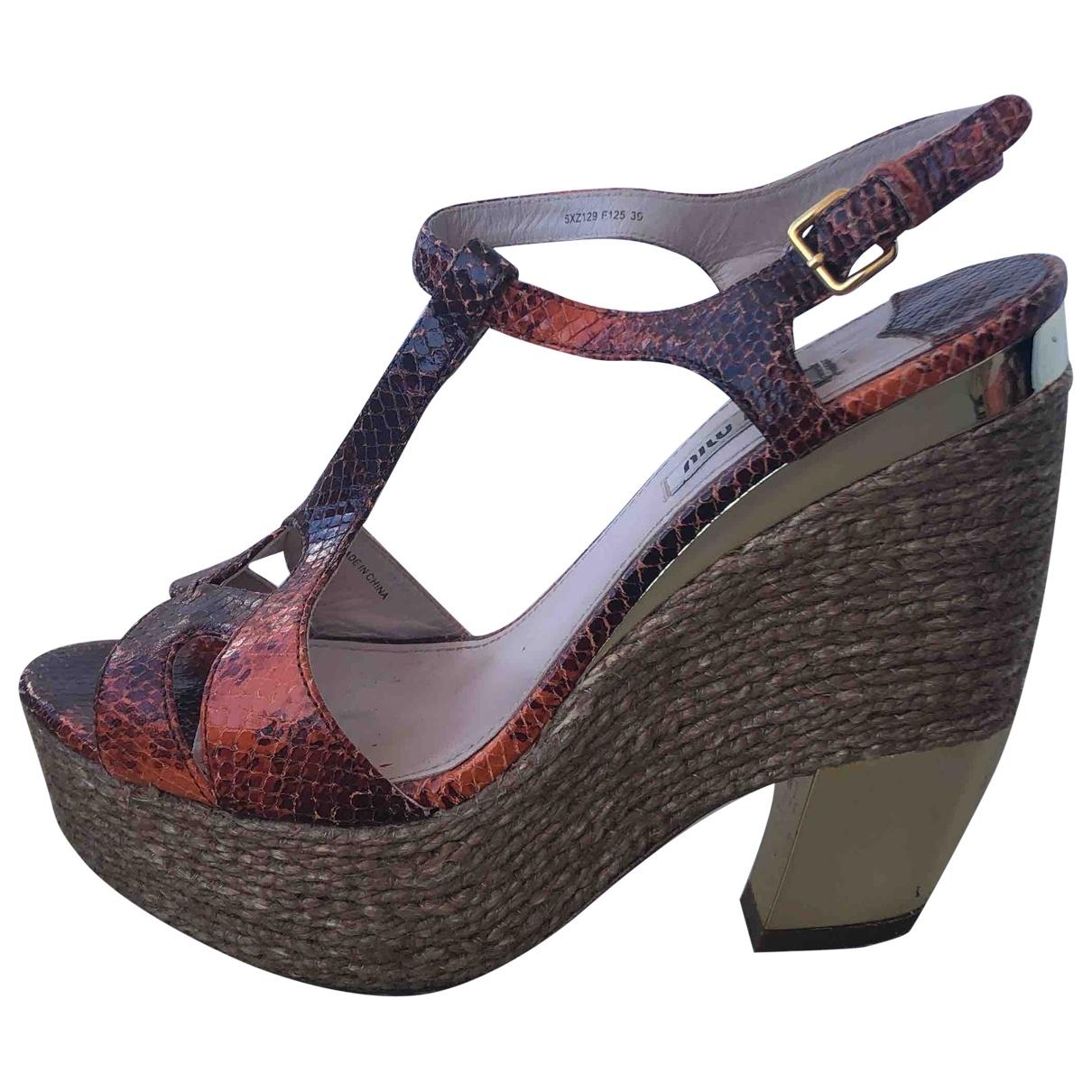 Miu Miu \N Multicolour Python Sandals for Women 39 EU