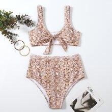 Bikini Badeanzug mit Schlangenleder Muster und Knoten vorn
