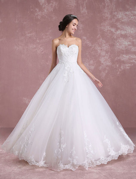 Milanoo Ivory Wedding Dress Sweetheart Backless Tulle Bridal Dress Strapless Lace Applique Beading A Line Floor Length Bridal Gown