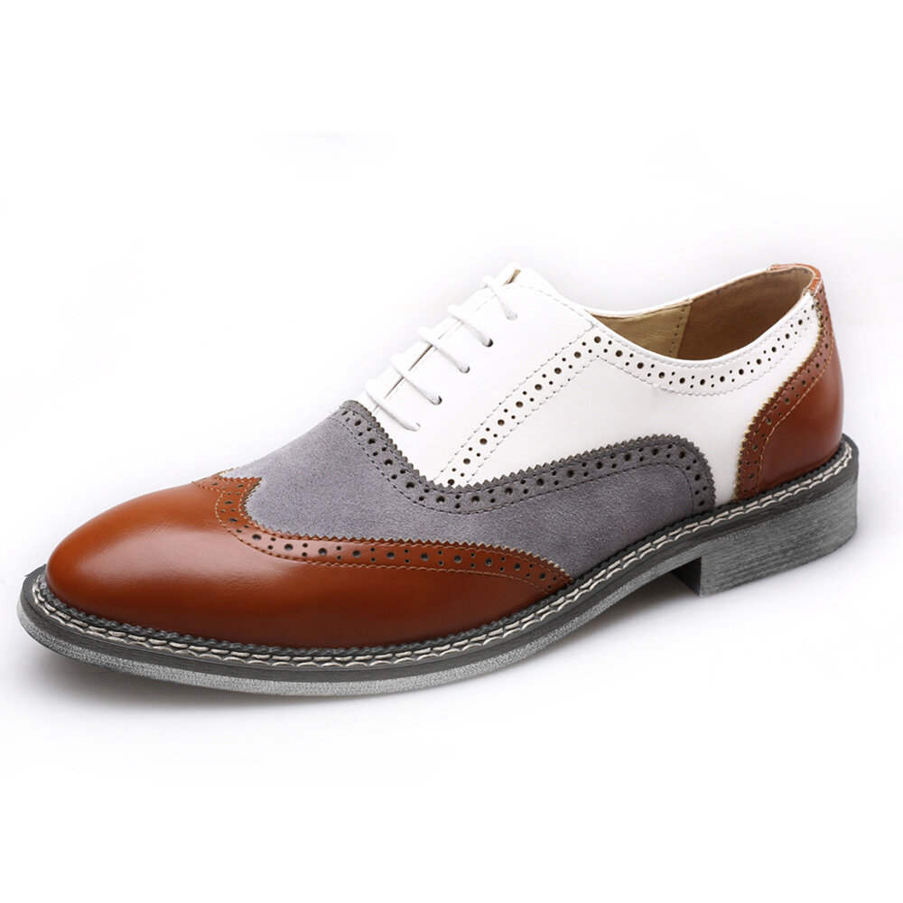 Men Brogue Color Blocking Oxfords Lace Up Formal Party Shoes