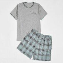 T-Shirt mit Buchstaben Grafik & Shorts mit Karo Muster Schlafanzug Set