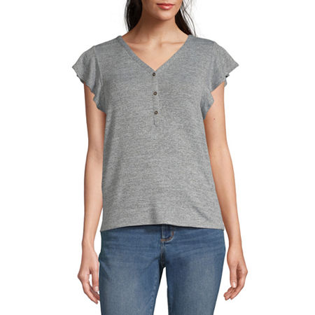 a.n.a-Womens V Neck Short Sleeve T-Shirt, Large , Gray