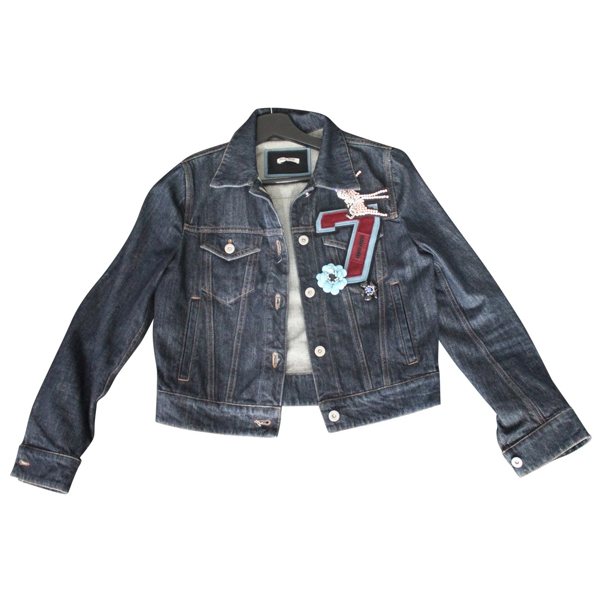 Miu Miu \N Blue Denim - Jeans Leather jacket for Women 38 IT