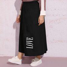 Falda fruncido de cintura elastica con estampado de letra