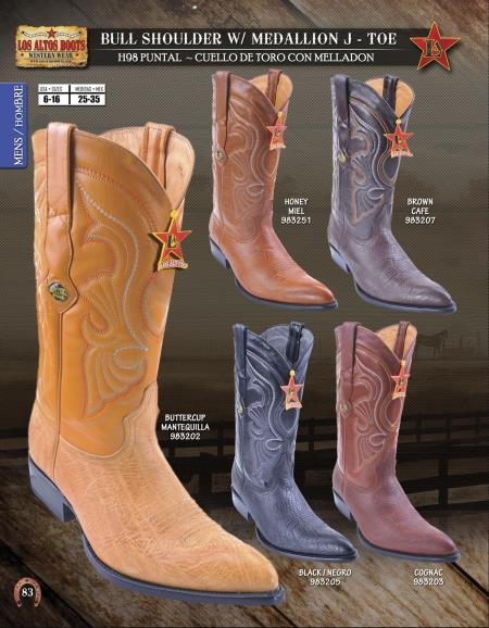 Los Altos JToe Bull Shoulder Western Cowboy Boots Diff.Colors/Sizes