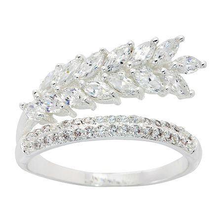 Sparkle Allure Pure Silver Over Brass Cocktail Ring, 7 , No Color Family