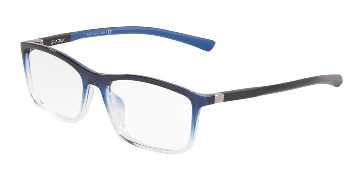 Starck SH3048 0006 Men's Glasses Blue Size 55 - Free Lenses - HSA/FSA Insurance - Blue Light Block Available