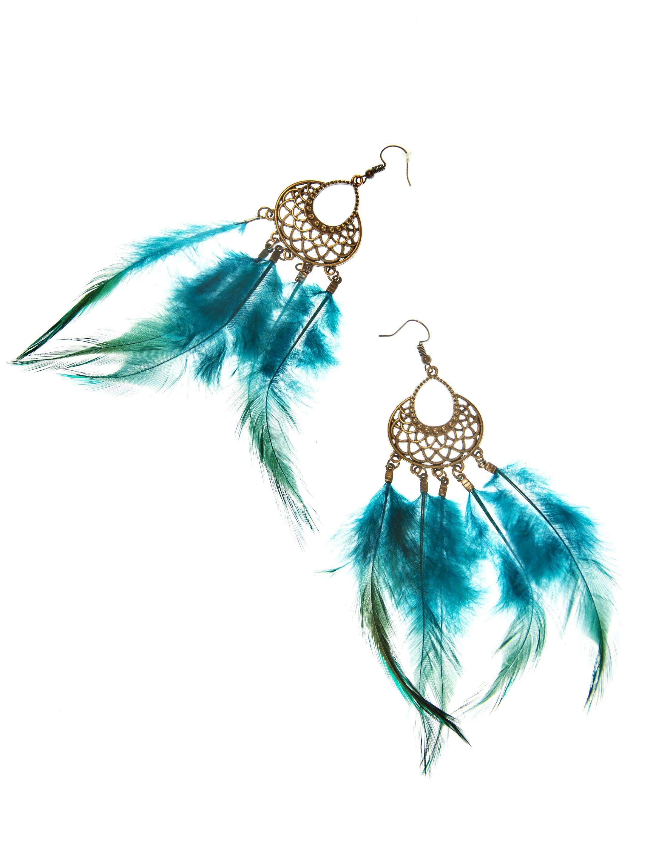 Kostuemzubehor Ohrringe mit Federn dunkelgruen