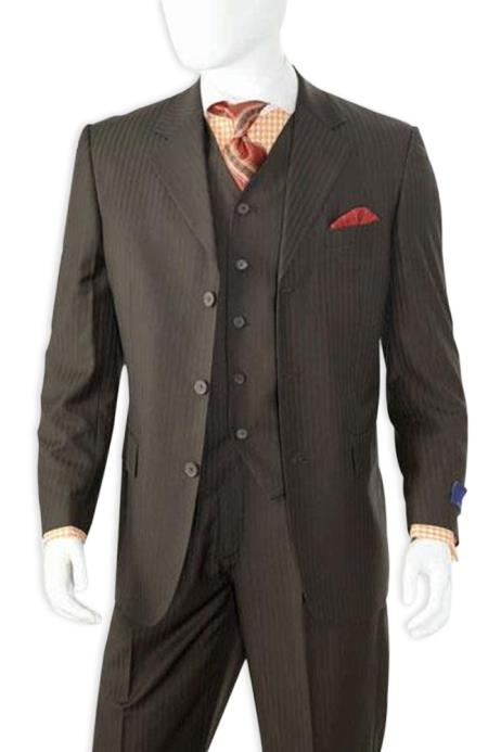 Men's Black Shadow Stripe 3 Buttons Shadow Stripe Vested Suit