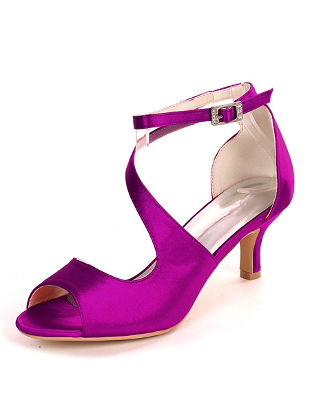 Milanoo Ivory Wedding Shoes Satin Open Toe Kitten Heel Bridal Shoes