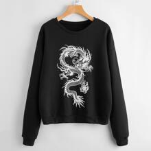 Sweatshirt mit chinesischer Drache Muster und sehr tief angesetzter Schulterpartie