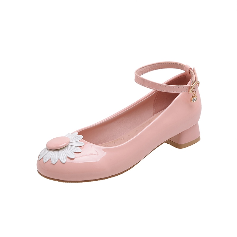 Ericdress Round Toe Line-Style Buckle Block Heel Low-Cut Upper Thin Shoes