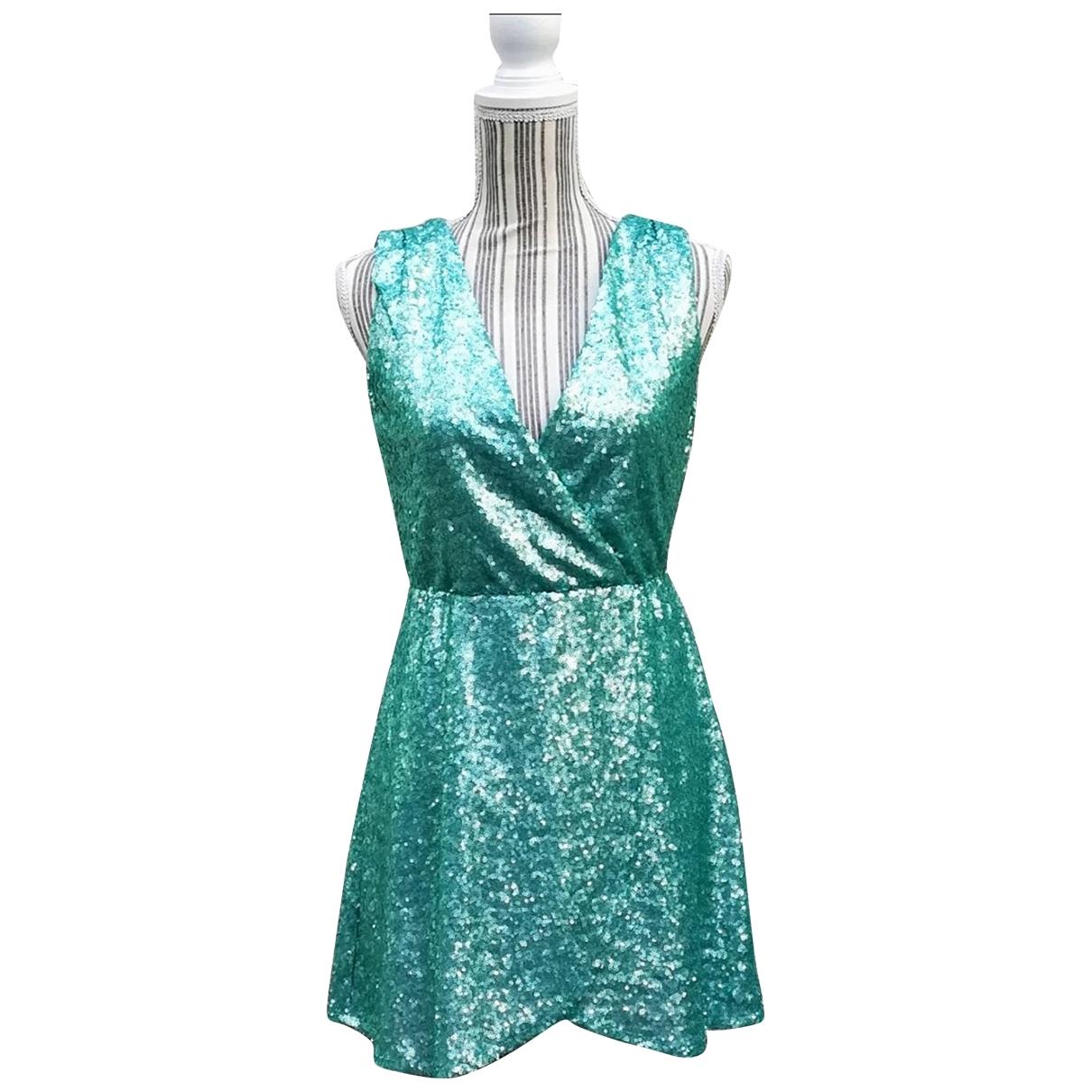 Non Signe / Unsigned \N Kleid in  Tuerkis Mit Pailletten