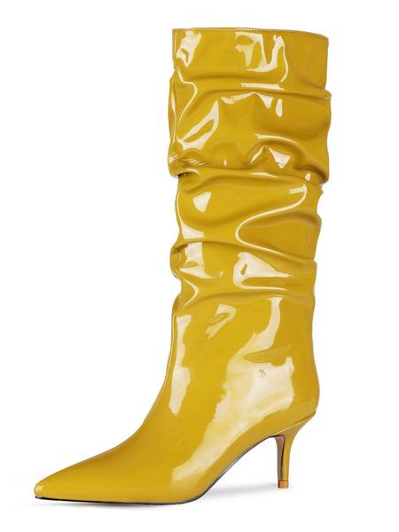 Milanoo Botas hasta la rodilla Botas de mujer con tacon de aguja en punta dorada