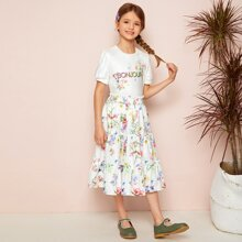 Girls Letter and Floral Print Top & Frill Trim Skirt Set