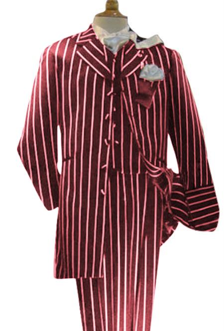 Men's Maroon High Fashion Bold Pronounce White Pinstripe 3 Piece Suit