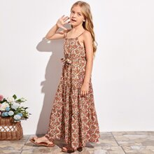 Girls Ditsy Floral Print Belted Cami Dress