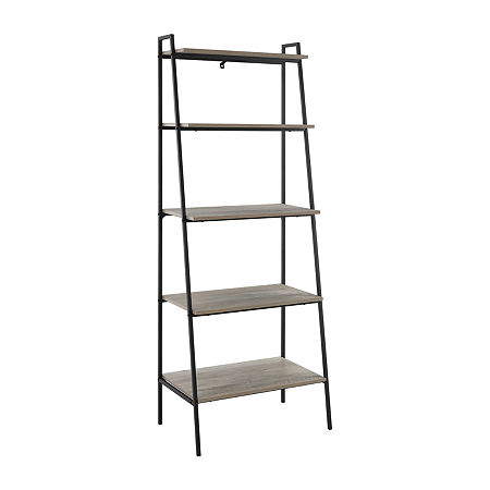Modern Industrial Ladder Style Bookcase, One Size , Gray