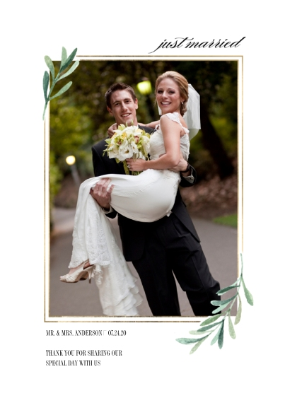 Just Married Flat Glossy Photo Paper Cards with Envelopes, 5x7, Card & Stationery -Wedding Just Married Simple Leaves by Tumbalina