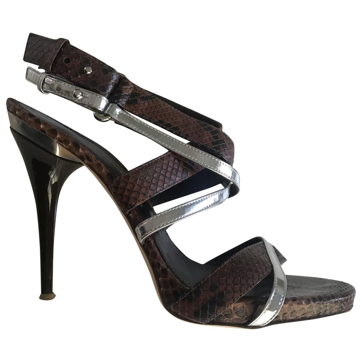 Gianvito Rossi \N Brown Lizard Sandals for Women 39 EU