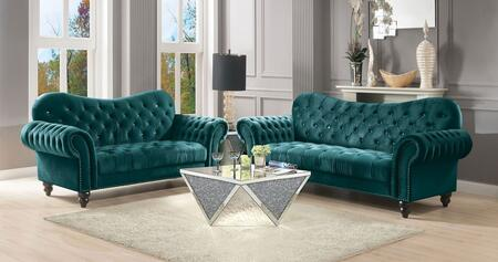 Iberis Collection 534004SET 4 PC Living Room Table Set with Sofa  Loveseat  Coffee Table and End Table in Mirrored and Green