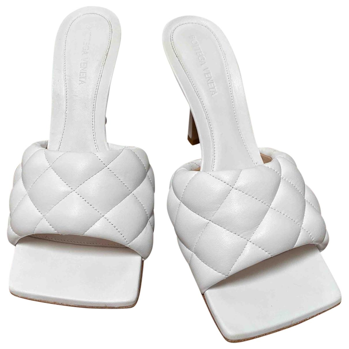 Bottega Veneta Bloc White Leather Sandals for Women 39.5 EU