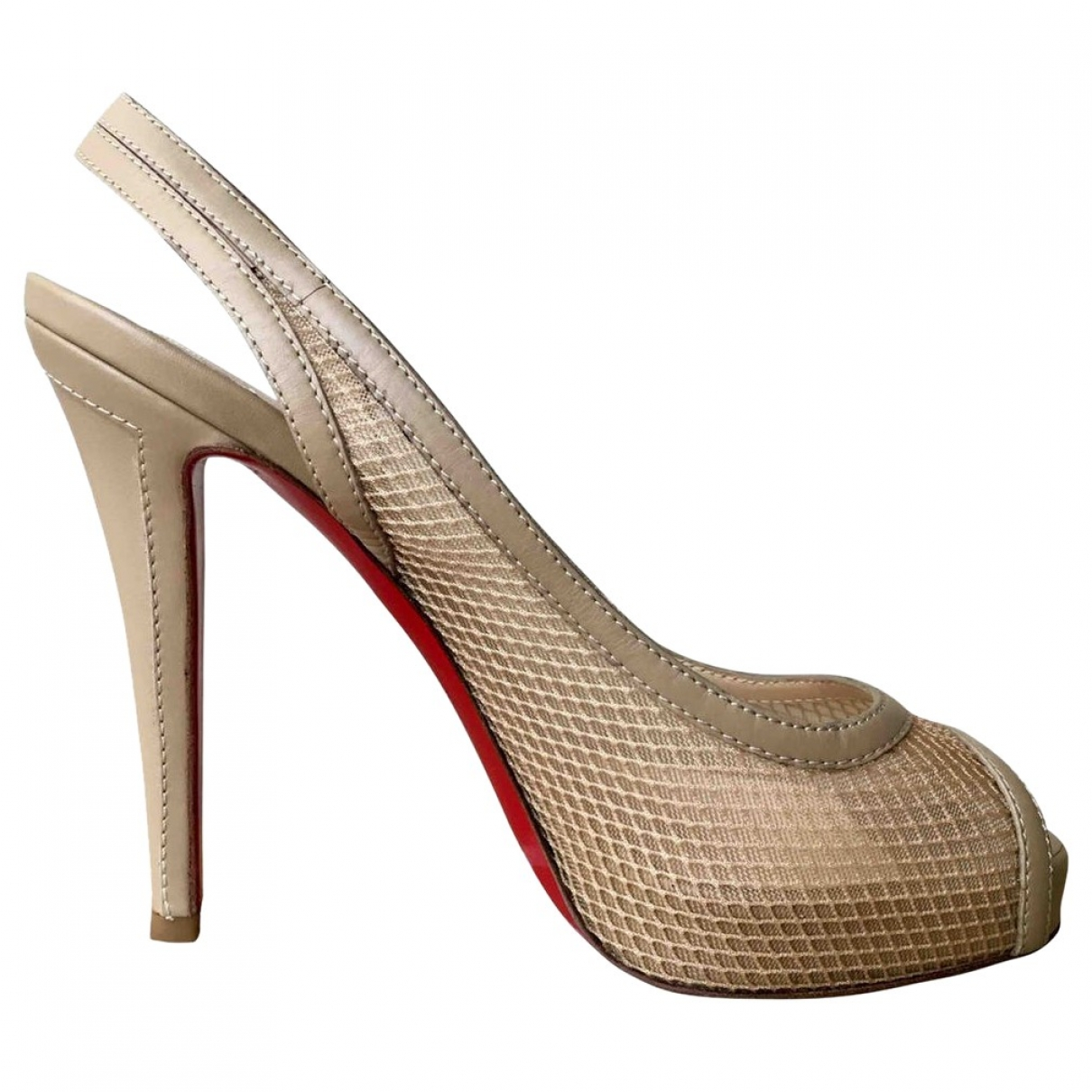 Christian Louboutin Private Number Beige Cloth Heels for Women 37.5 EU