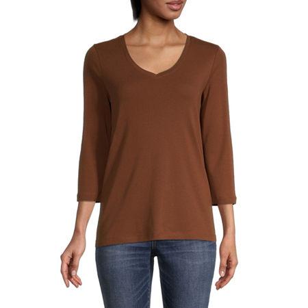St. John's Bay-Womens V Neck 3/4 Sleeve T-Shirt, Petite Medium , Brown