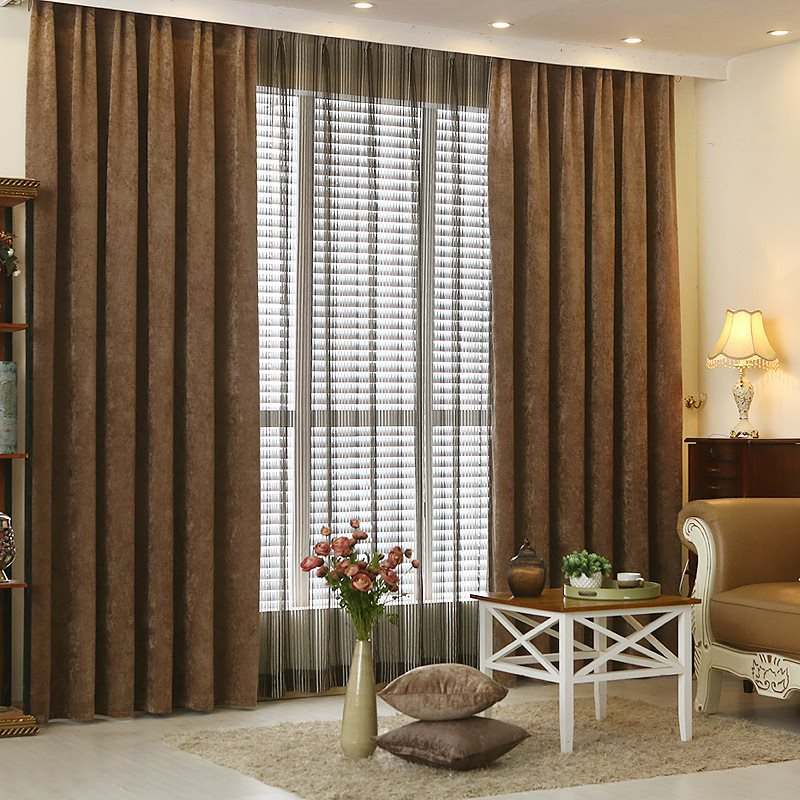 Modern Simple Style European Decorative Blackout Grommet Curtains for Living Room Bedroom